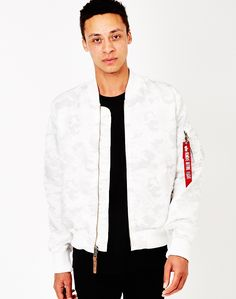 Alpha Industries MA-1 VF59 Bomber Jacket White Camo | Shop men's jackets and clothing at The Idle Man