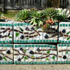 Cinder block turned mosaic planter