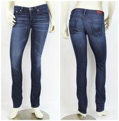 AG Adriano Goldschmied The Stevie Slim Straight Dark Denim Premium Jeans 26R #AdrianoGoldschmied #StraightLeg
