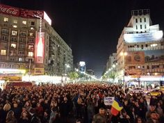 Over 25 000 people right now in the streets of Bucharest, Romania, protesting the government corruption