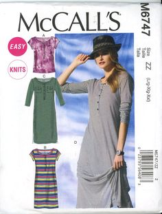 McCalls M6747 Misses Top and Dresses Size Lrg, Xlg, XXlrg - Sewing Patterns