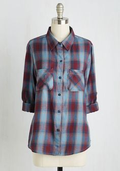 In Cool Company Top - Long, Cotton, Woven, Multi, Plaid, Pockets, Long Sleeve, Fall