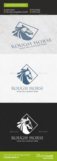 Rough Horse - Logo Template by eaven Rough Horse Logo TemplateFeatures - fully editable and resizable - easy to adjust colors - suitable for web and print areas - cl Logo Design Template, Logo Templates, Chess Logo, Logos, Horse Logo, Vintage Logo Design, Geometric Logo, Animal Logo, Logo Color