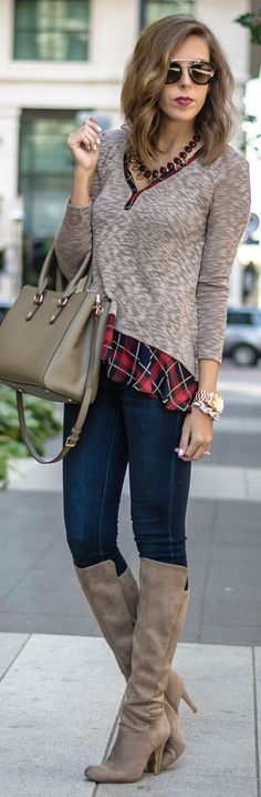 Plaid Hem Sweater Fall Inspo by For The Love Of Fancy