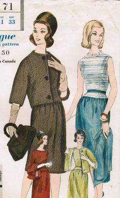 1960s Vogue Special Design 4171 Vintage Sewing Pattern Misses' Dress and Jacket Size 10 Bust 31