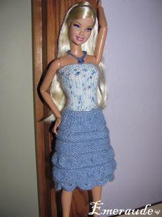 Tricot: Ensemble n°8 (jupe et top d'été) pour Barbie