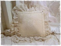 Vintage Shabby Pillow Heirloom White Lace by VintageShabbyCottage, $12.00