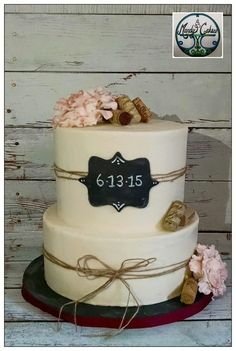 Rustic Bridal Shower Wine Cake