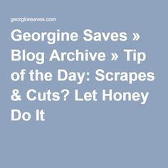 Georgine Saves » Blog Archive » Tip of the Day: Scrapes & Cuts? Let Honey Do It