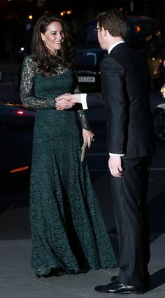 Catherine, Duchess of Cambridge is greeted by Director of the National Portrait Gallery Nicholas Cullinan as she arrives to attend the  2017 Portrait Gala at the National Portrait Gallery on March 28, 2017 in London.