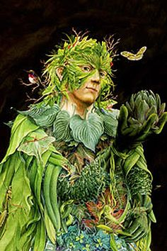 """Mabon is a time to celebrate the Green Man, the God of the Forest.  """"Green Man"""" by Kathleen O'Connell."""