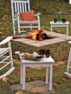 diy fire pit and burying pavers for table/chairs to sit on