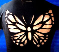 Sexy Butterfly cut-out t-shirt - Zumba Shirts - Ideas of Zumba Shirt - Sexy Butterfly cutout tshirt by Fancylooks on Etsy Zerschnittene Shirts, Zumba Shirts, Cut Up Shirts, Sexy Shirts, Skull Shirts, Butterfly Cutout, Butterfly Pattern, Butterfly Wings, T Shirt Yarn