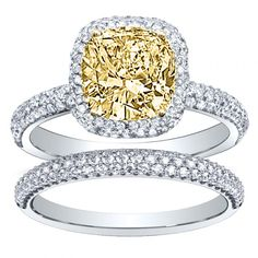 This engagement ring is Designed by @diamondmansion --- Center: Yellow Canary Diamond ---- Metal: White Gold ---- Carat: 3.05ct.