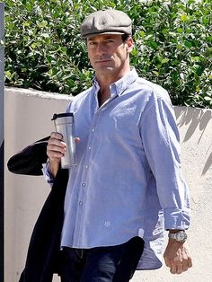 Jon Hamm makes simple look sexy as he does errands in jeans and a collared shirt, Thursday in L.A.'s Silver Lake neighborhood.