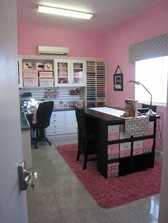 """Cute scrapbook room, minus the pink. Would love to have this as my """"woman cave"""" one day. Craft Room Storage, Craft Organization, Scrapbook Room Organization, Scrapbook Paper Storage, Organizing Life, Desk Storage, Office Storage, Fabric Storage, New Crafts"""