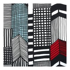 Marimekko cityscape pattern for napkins, wall hanging, underglass tabletop etc