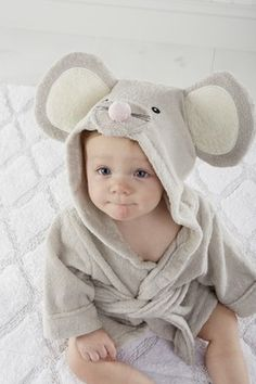 Squeaky Clean Mouse Hooded Spa Robe - Months by Baby Aspen on Baby Boy Baptism Outfit, Cute Gifts For Friends, Baby Spa, Disney Baby Clothes, Baby Bath Time, Motifs Animal, Peignoir, Baby Towel, Pink Dog