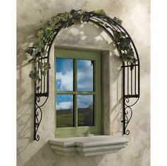 This would be awesome over tha back windows! Thornbury Ornamental Metal Garden Window Trellis