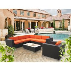 @Overstock - Perfect when entertaining or for everyday relaxation, this modular sofa set can be moved or adjusted in dozens of configurations. Move seats apart for separate chairs or put them together for intimate sofa seating.http://www.overstock.com/Home-Garden/Corona-Outdoor-Patio-Espresso-and-Orange-7-Piece-Sectional-Sofa-Set/6468056/product.html?CID=214117 $1,689.99