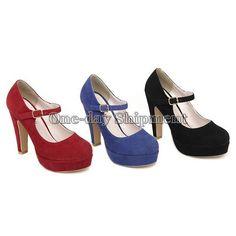 Women Sexy Suede Mary Jane Ankle Strap Platform Stilettos High Heel Pump Shoes
