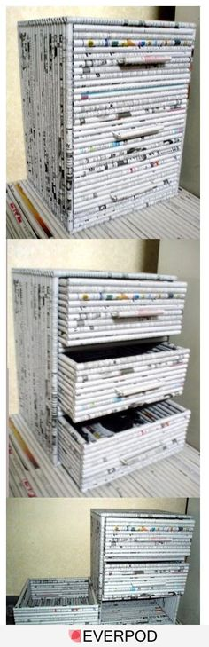DIY Drawers out of newpapers or magazines…I could only find the picture.I hop… DIY Drawers out of newpapers or magazines…I could only find the picture.I hope one day I can find the step by step.great idea though 종이 Recycled Magazines, Recycled Crafts, Recycled Magazine Crafts, Recycled Jewelry, Fun Crafts, Diy And Crafts, Arts And Crafts, Paper Weaving, Diy Drawers