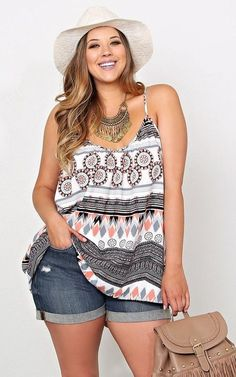 JUST IN!! Stitch Fix Plus Size fashion! 2017 fashion trends up to size 24W & 3XL. Have your own personal stylist picked items just for you & delivered to your door. No stress shopping in stores! #sponsored #stitchfix Your curves your style! Sexy, modern, fun & flirty Boho tank & cutoffs paired with cute white hat. Summer 2017 Spring