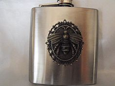 Steampunk Flask Giant Bronze Bee 6 Ounce  Mens Womens by AGothShop, $27.00