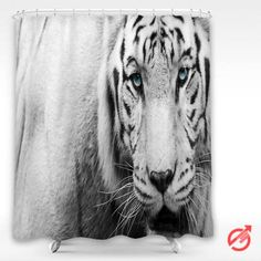 Tiger White Tiger face Blue eyes Shower Curtain #decorative #bathroom #curtain #gift #present #favorite