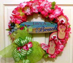 summer flip flop wreath | Summer wreath for door, flip flop wreath, whimsical wreath, deco mesh ...