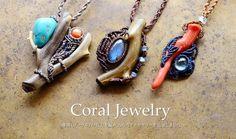 Macrame pendants with corals