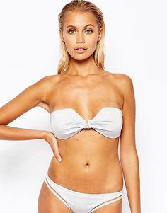 Imagen 1 de Top de bikini cuadrado en plateado con aplicación de malla y lazos Mix and Match de ASOS