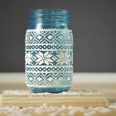 Christmas Decor Mason Jar Lantern Holiday Centerpiece