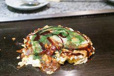 Have you ever had okonomiyaki? Osaka and Hiroshima are the birthplaces of two different kinds of okonomiyaki. If you go to Osaka and want to try their style, Takoyaki, Delicious Restaurant, Osaka, Salmon Burgers, Sushi, Hiroshima, Ethnic Recipes, Restaurants, Shops
