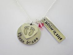 Hand Stamped Personalized Necklace with Baby Feet by kimgilbert3