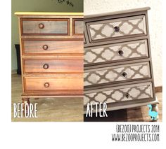 Before and After chest of drawers by Bezoo Repainting Furniture, Old Furniture, Repurposed Furniture, Furniture Projects, Painted Furniture, Stereo Cabinet, School Desks, Before And After Pictures, Milk Paint