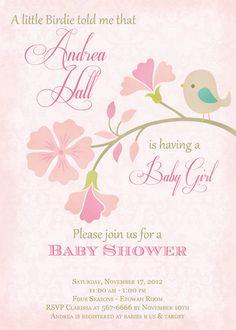 Little Bird Pale Pink Baby Shower Invitation - Printable