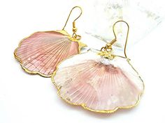 24KT Gold Dipped Seashell Earrings Hand Painted by MoodTherapy, $17.95