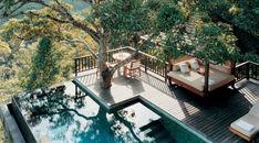 Tropical wellness retreat overlooking the Bali jungle