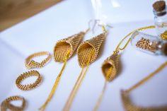 golden, miyuki, beads, madebyme, peyote, earring, bracelet, ring, necklace Beaded Jewelry, Handmade Jewelry, Jewellery, Loom Beading, Necklaces, Bracelets, Ring Necklace, Bead Weaving, Beadwork