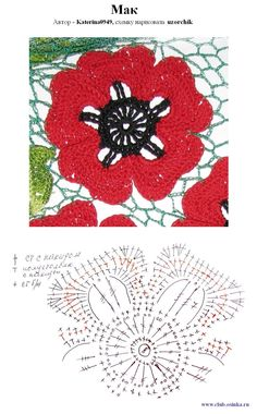 Irish Lace -- poppies. crochet pattern