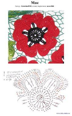 Irish Lace -- poppies. crochet pattern