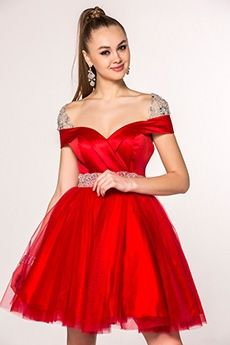 A-Line/Princess Off-the-shoulder Short/Mini Tulle Prom Dress