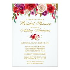 #Watercolor Floral Gold Bridal Shower Invitation - #weddinginvitations #wedding #invitations #party #card #cards #invitation #fall
