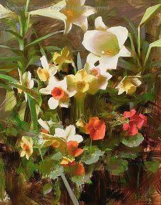 Lilies and Daffodils - Oil by Daniel J. Keys