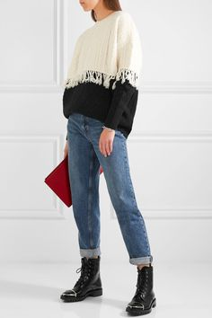 Steve J & Yoni P | Fringed cable-knit wool-blend sweater | NET-A-PORTER.COM