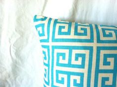 Aqua Pillow Covers - 18 x 18, Set of Two, Greek Key, Blue Pillow, Turquoise Pillows, Blue Cushions, Cushion Covers, Modern Decor,