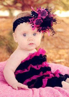 Shocking Pink & Black - Medium Hair Bow Headband