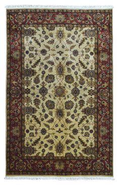 Large Beige and Red Oriental Kashan Rug 5'10X9'