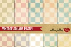 Retro Chess Digital Paper Pack Checkered Backgrounds By All is full of love